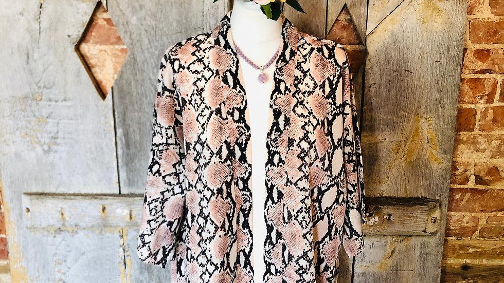 Pale pink snake skin short kimono