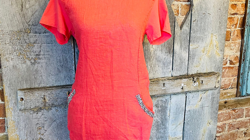 Italian coral dress with glitter pockets
