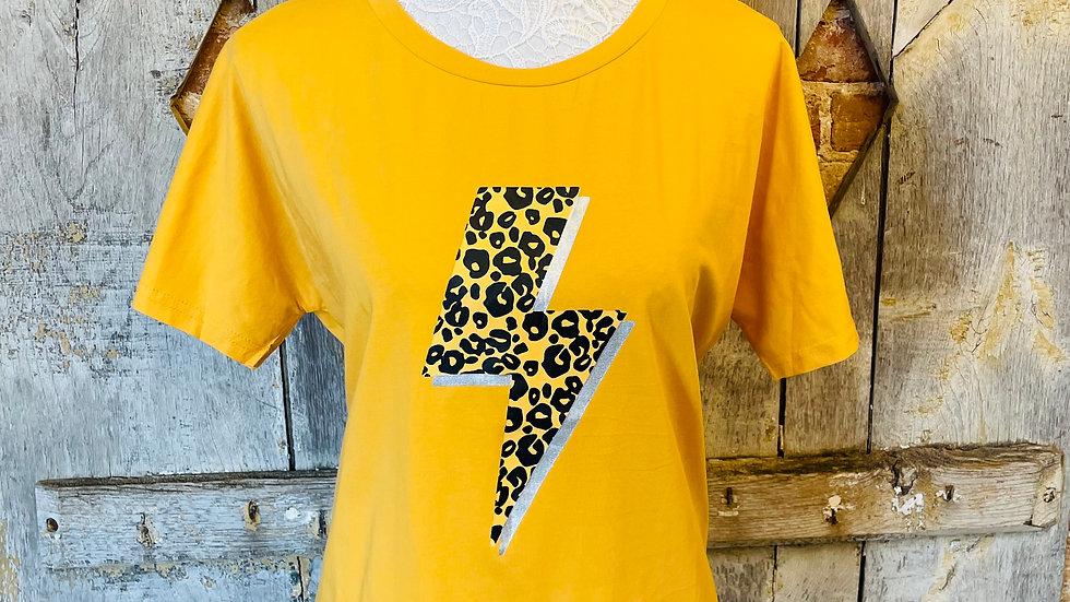 Mustard T- Shirt with Leopard Print Lightening Bolt