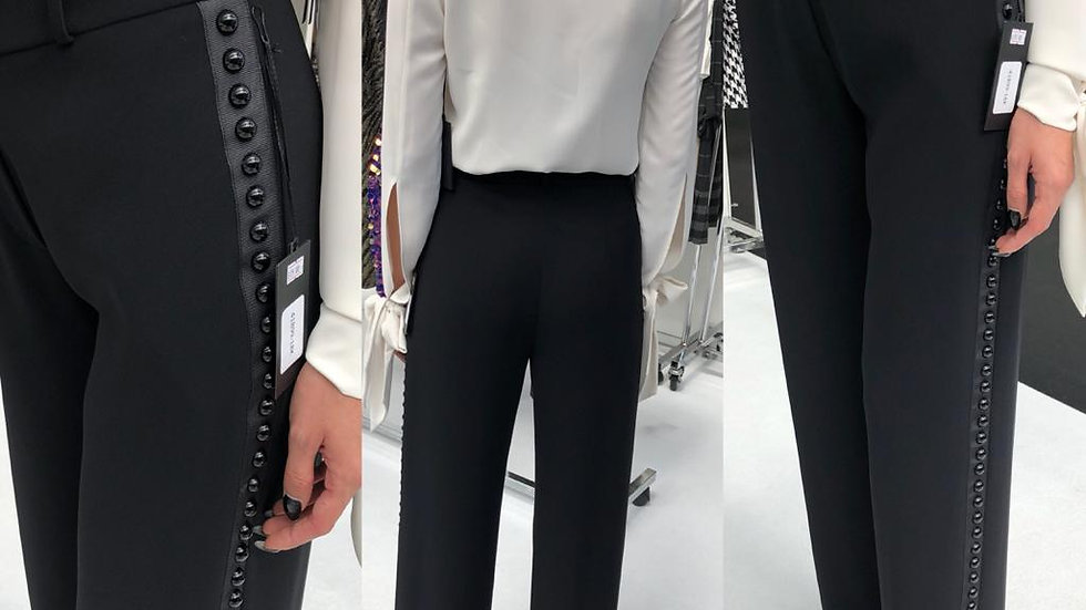 Black High Waist Wide Trousers with Buttons