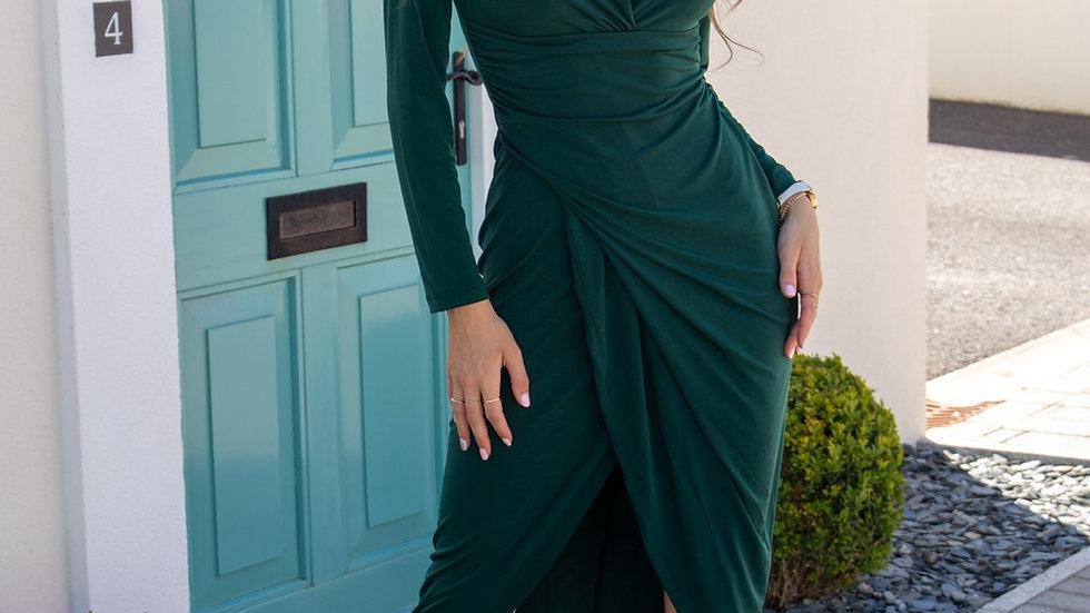 Wrap Midi Dress in Petrol Green