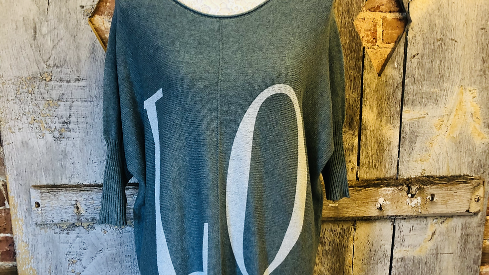 Love 3/4 length sleeve jumper in teal green