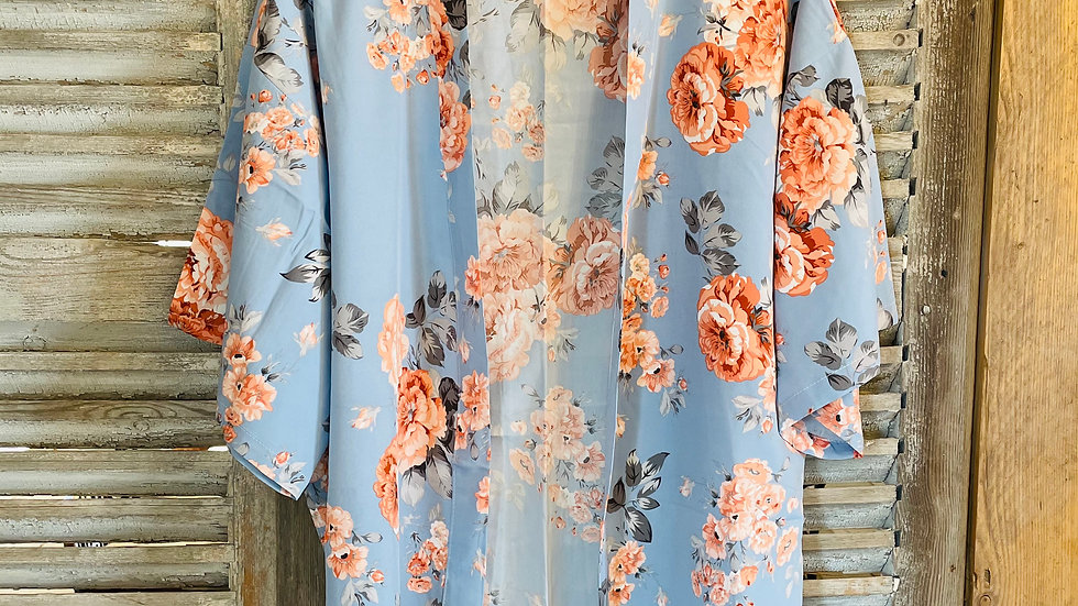 Kimono Baby Blue with Pink Roses