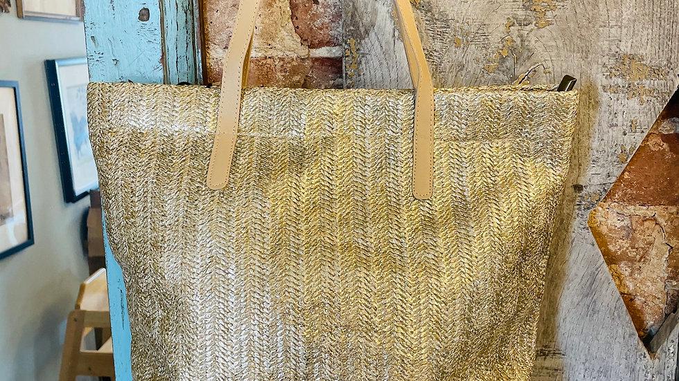 Cream & Gold Rattan Tote Bag