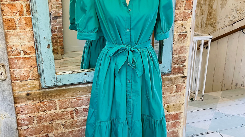 Green Wrap Maxi Dress with Puff Sleeves