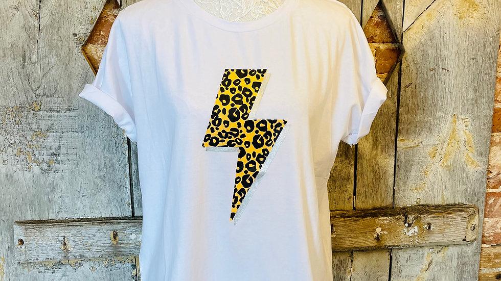 White T- Shirt with Leopard Lightening Bolt