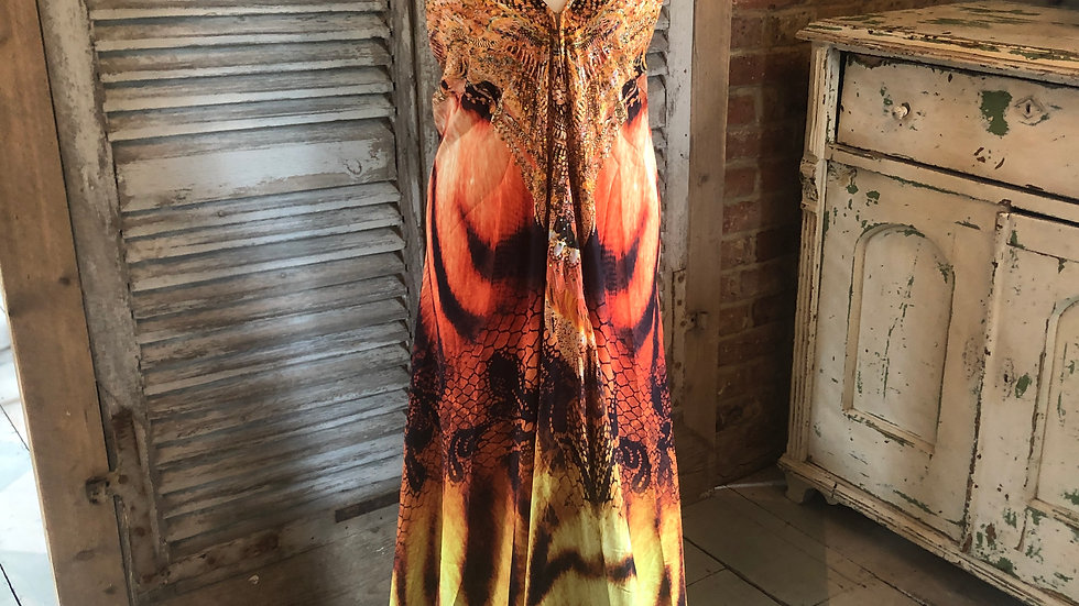 Orange and yellow maxi dress
