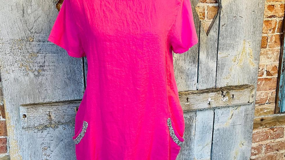 Italian pink dress with glitter pockets