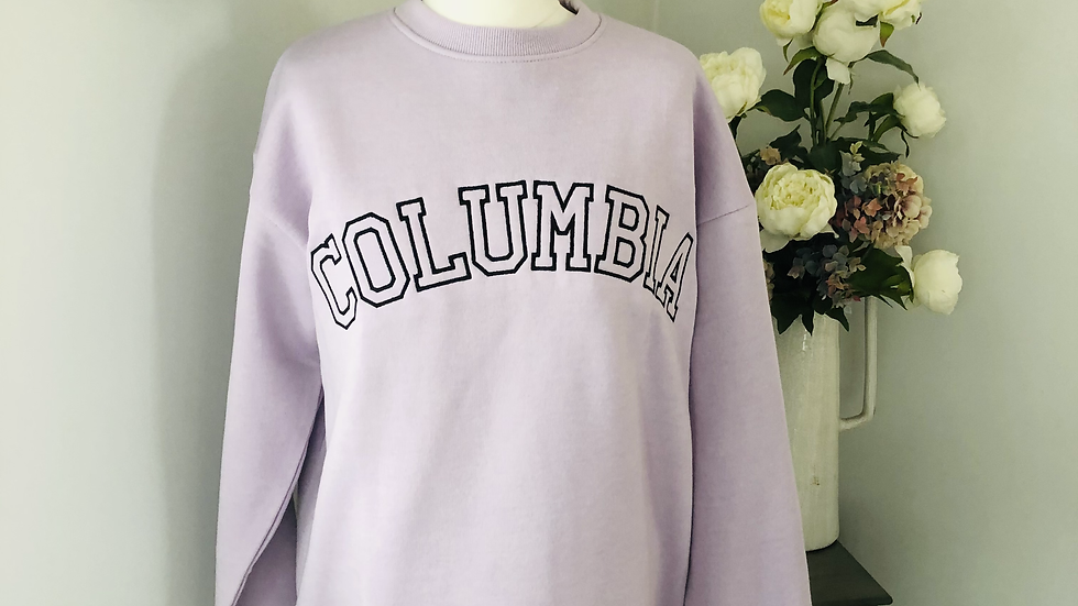Columbia embroidered sweatshirt in lilac