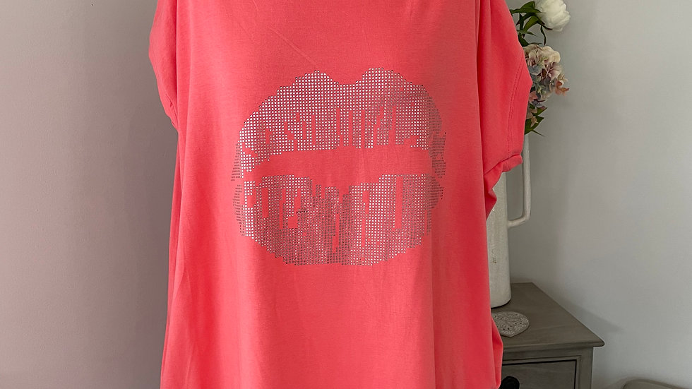 Coral Sparkly Lips Tunic Top