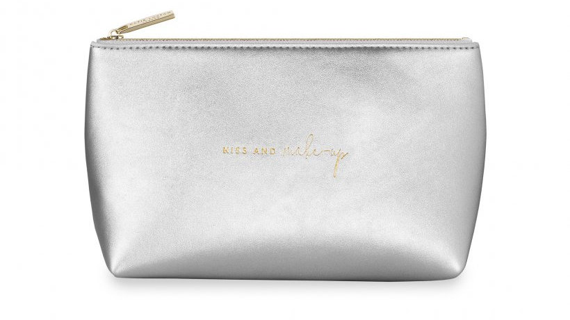 Katie Loxton Kiss & Make Up Bag in Silver