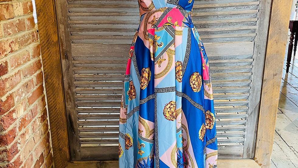 Blue Patterned Maxi Dress