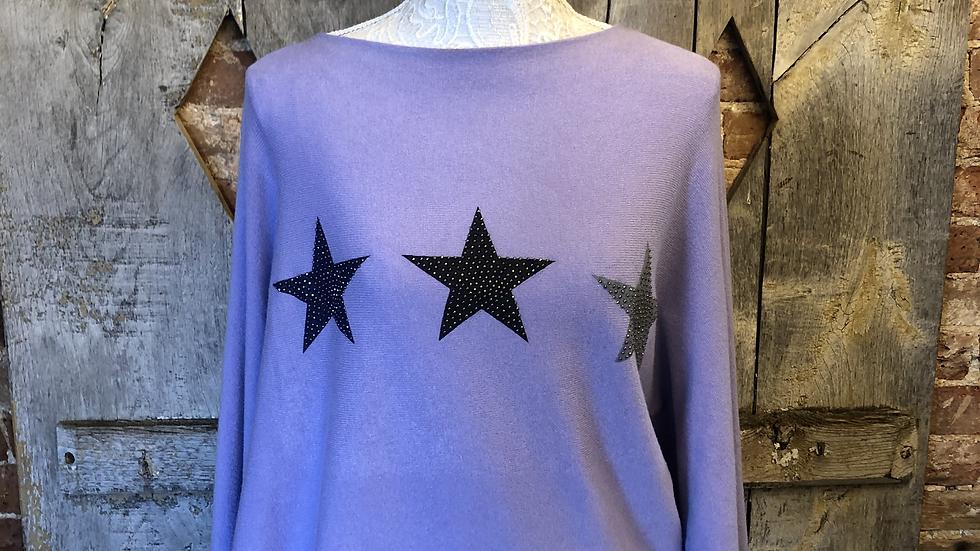 Slash neck glitter star jumper in lilac