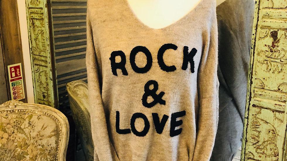 Rock & Roll slogan V Neck Jumper