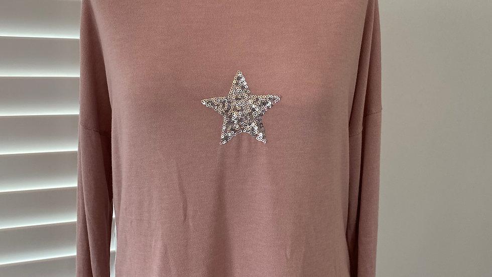 Pink start fine knit top