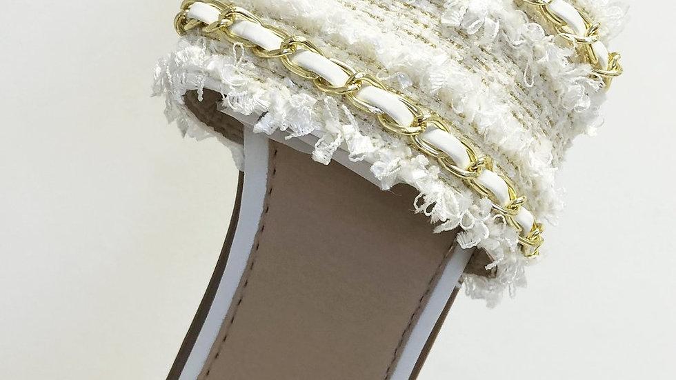 White Woven Gold Detailed Slider Sandals