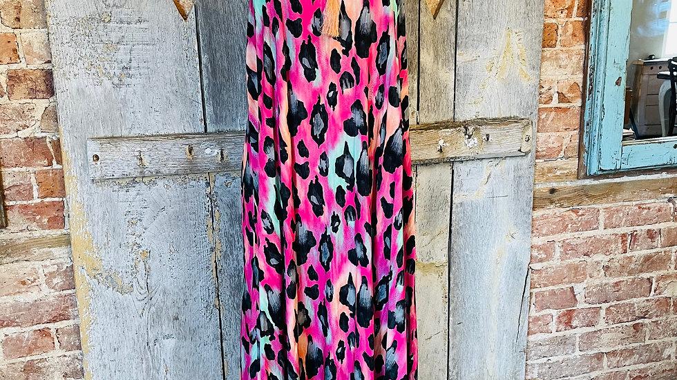 Fuchsia Pink Leopard Print Sun Dress