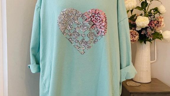 Mint Heart Top