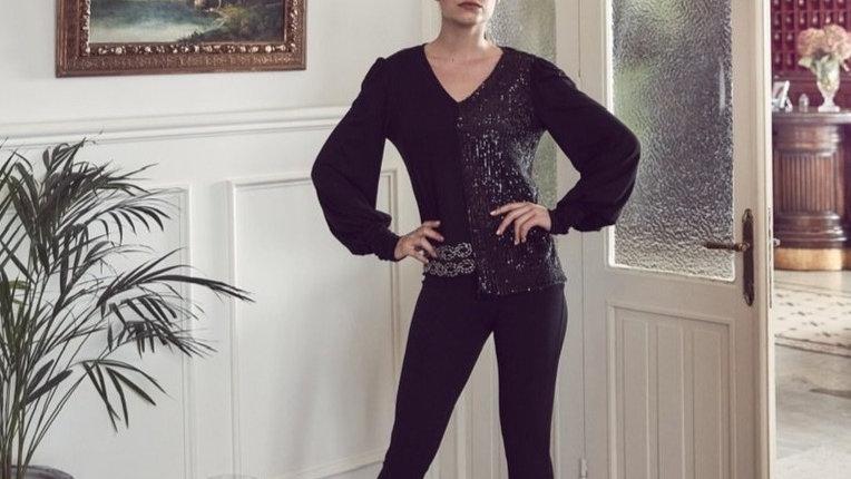 Black V Neck Long Sleeve Sequin Top
