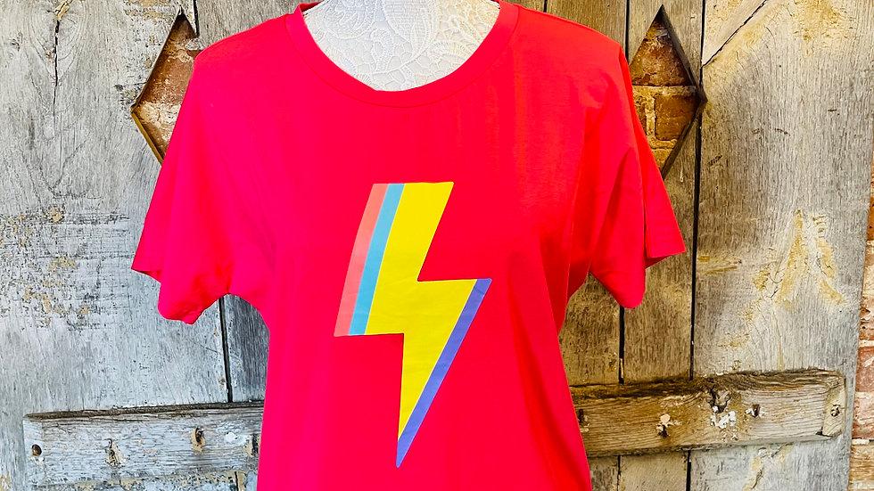 Pink T- Shirt with Rainbow Lightening Bolt