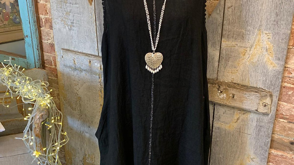 Italian Linen Dress with Lace Detail
