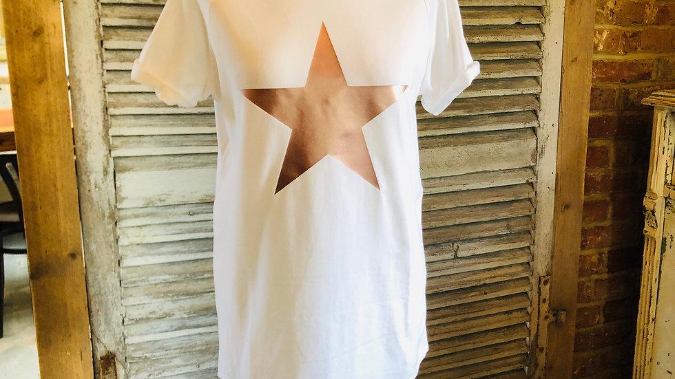 White rose gold star t-shirt