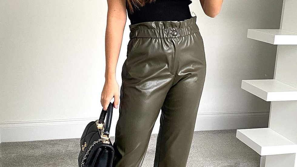 High Waisted Straight Leather Trousers