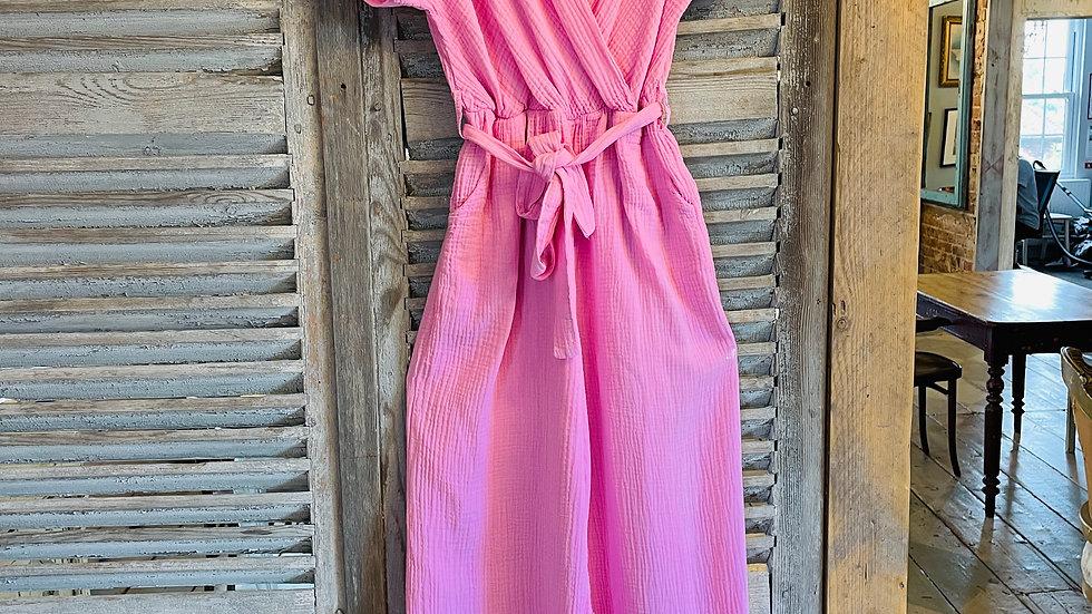 Italian Pink Cotton Jumpsuit