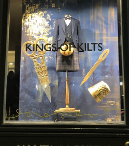MacGregor and MacDuff kilt shop window. Props by me and Rachael Murray, Scenic by Becci Shephard, designed by Lu Harbert- courtesy of Nikcy Baillie