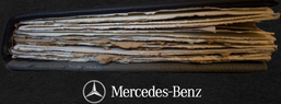 Mercedes hand-made book with hand-made paper and vintage Merceded leather- courtesy of Nikcy Baillie