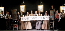 """one of 5 hand-written signs painted on calico for """"Blue Stockings"""" in London-"""