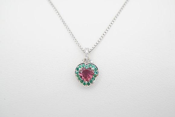 18k & 14k Sapphire, Emerald, & Diamond Heart Necklace
