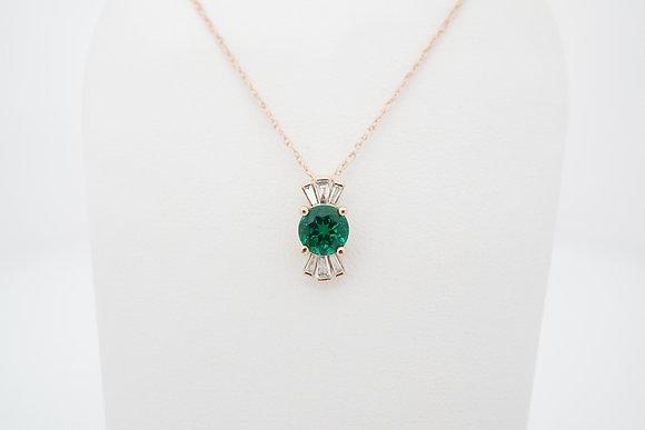 14k Diamond & Chatham Emerald Necklace