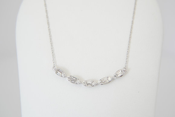 10k 1/3ctw Curved Bar Necklace