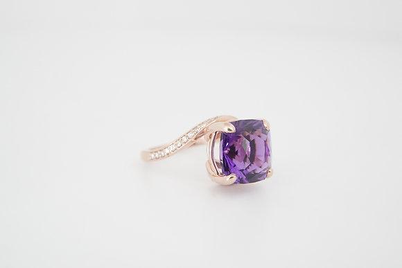 14k Amethyst & Diamond Bypass Ring
