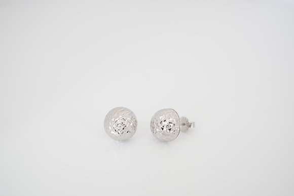 14k White Diamond-Cut Ball Earrings