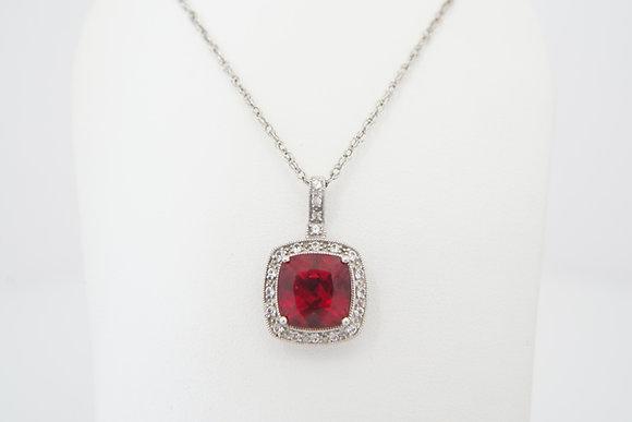 14k Cushion Created Ruby Halo Necklace