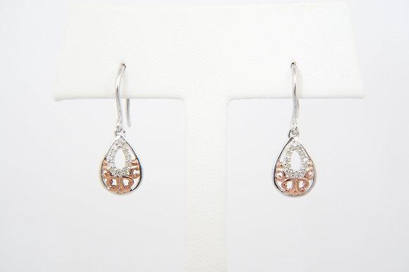 Sterling Silver 1/10ctw Teardrop Dangle Earrings