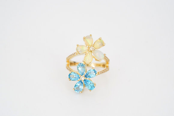 10k Topaz and Opal Floral Ring
