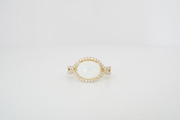 14k Opal & Diamond Horizontal Halo Ring