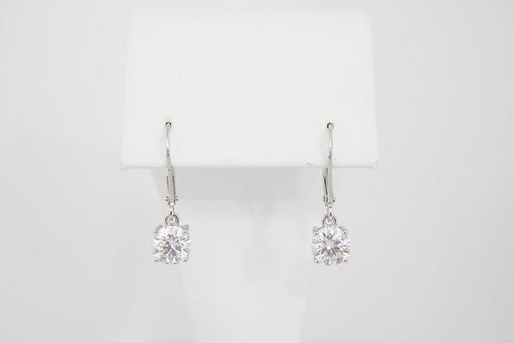 Sterling Silver 2ctw Moissanite Leverback Earrings