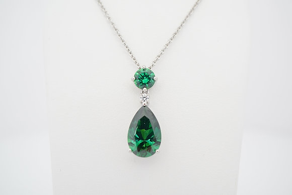 Sterling Silver Green & White CZ Necklace