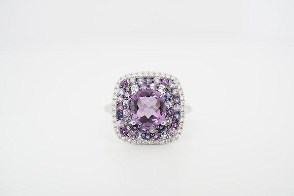 14k Cushion Amethyst & Diamond Cluster Halo Ring