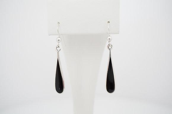 Sterling Silver Created Onyx Drop Earrings