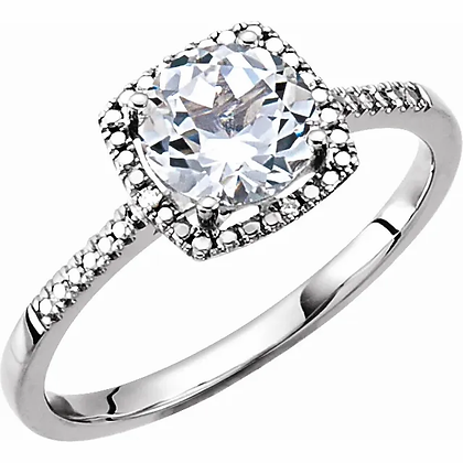 Sterling Silver Created White Sapphire Halo-Style Ring