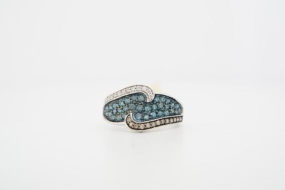 10k 3/4ctw Diamond Wave Ring
