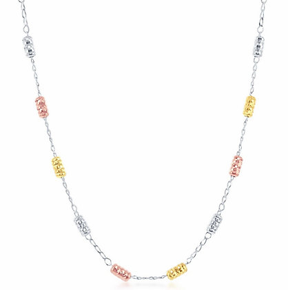 Sterling Silver Tri-Color Necklace
