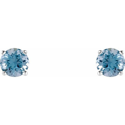 14k 4mm Aquamarine Stud Earrings