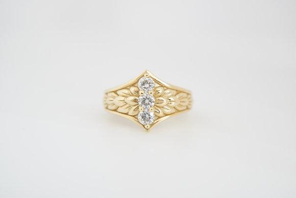 14k 3-Stone Moissanite Ring