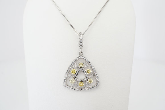 Sterling Silver White & Yellow CZ Triangle Necklace